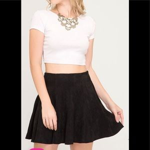 She and Sky Faux Suede Skater Flare Skirt NWT